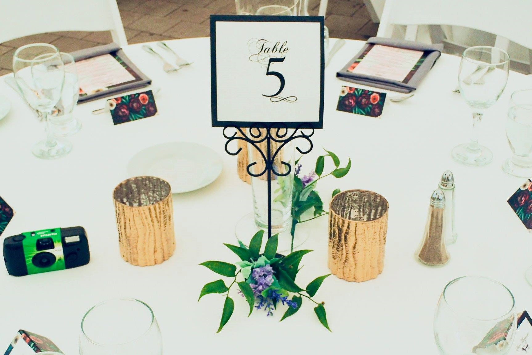 """Black Ornamental Table Number Stands with 4"""" Wavy Gold Votives"""