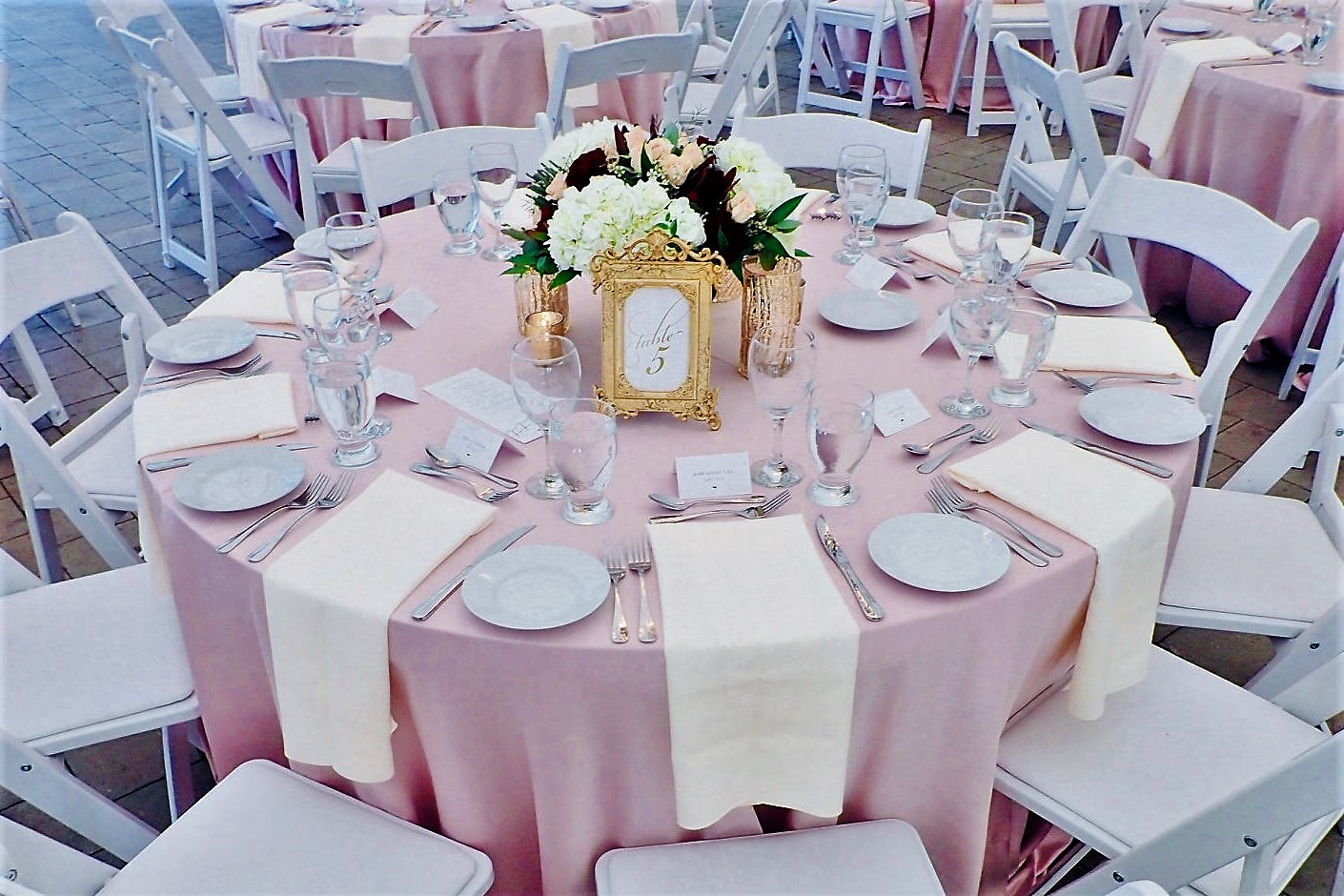 """Gold Ornate Table Number Frames with Wavy Gold 6"""" Votives"""