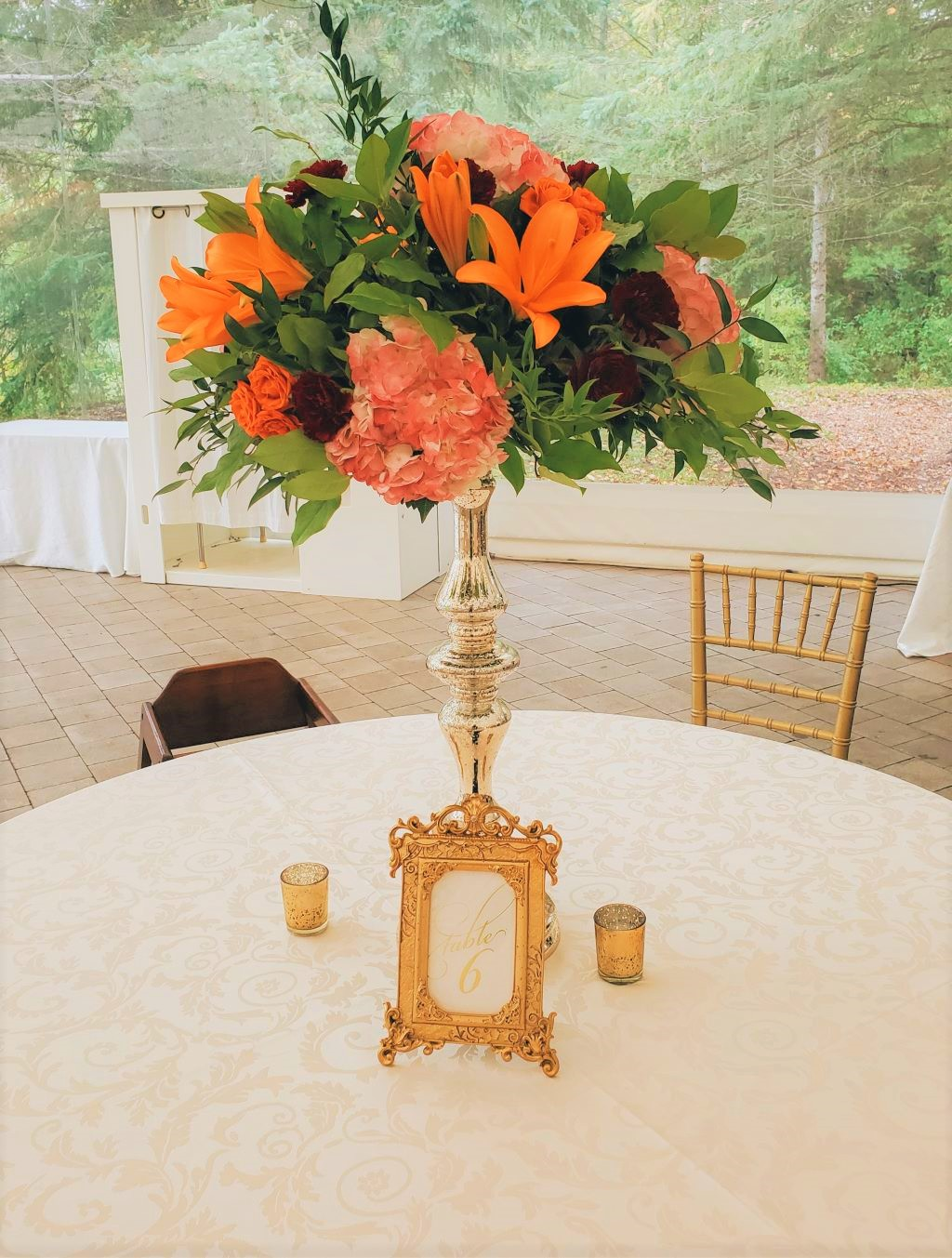 Gold Ornate Frame Table Numbers with Gold Mercury Floral Stand & Votives