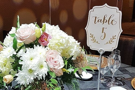 Silver Matte Table Number Holders with Blush & Gold Numbers