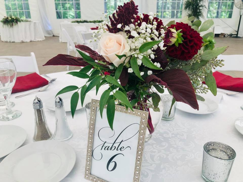 Silver Picture Frame Table Numbers with Silver Votives