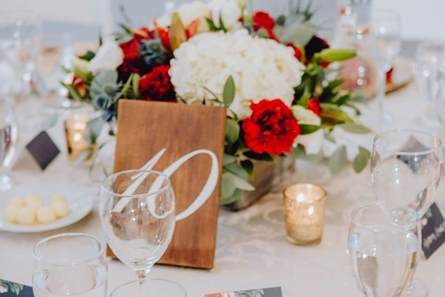 Wood Table Numbers with Gold Mercury Votives
