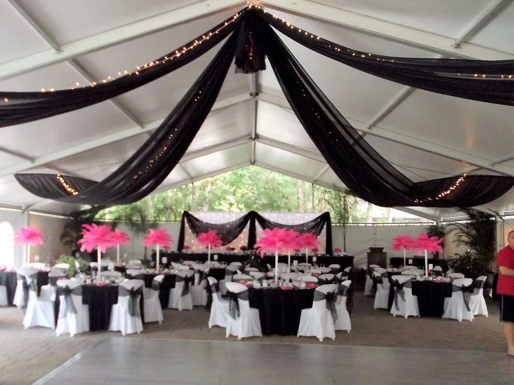 Black Sheer Tent Swags with Mini Lights, Wedding Backdrop