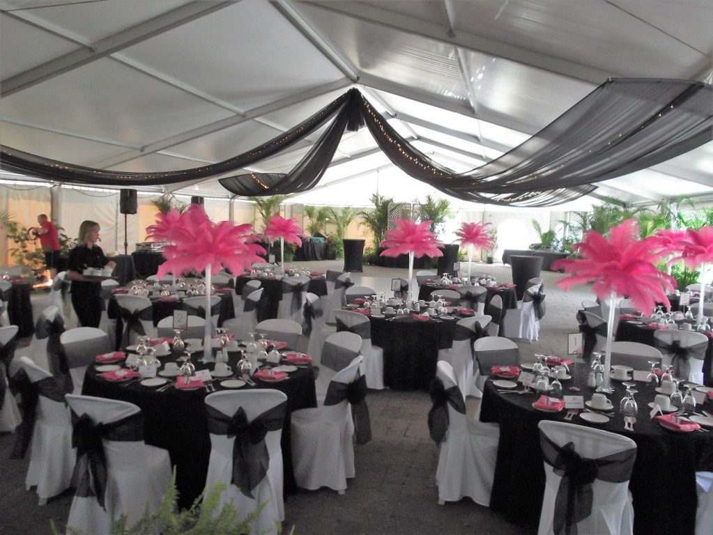 Black Sheer Tent Swags with Mini Lights