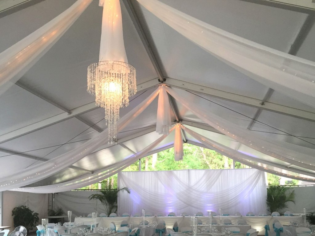 Sheer Tent Swags with Mini Lights, Anastasia Crystal Chandeliers &  Wedding Backdrop