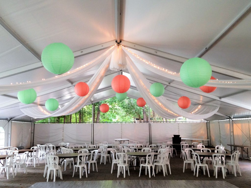 Sheer Tent Swags with Mini Lights & Paper Lanterns