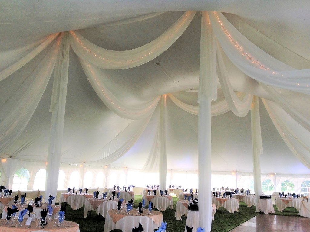 60' wide Pole Tent - Sheer Swags with Mini Lights