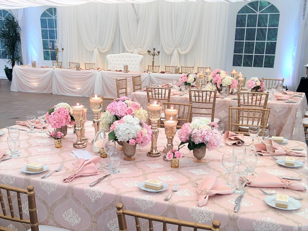 Blush, White, Gold Tent Wedding with Venetian Gold Linen Overlays