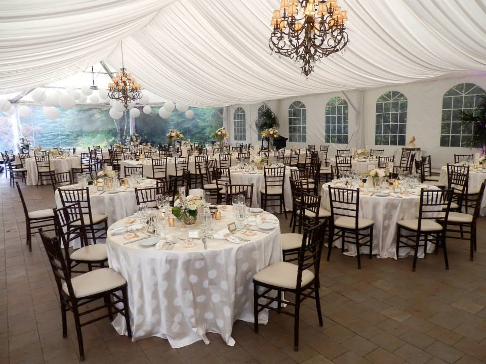 Pillow Ceiling Tent Liner, Specialty Linens with Mahogany Chiavari Chairs