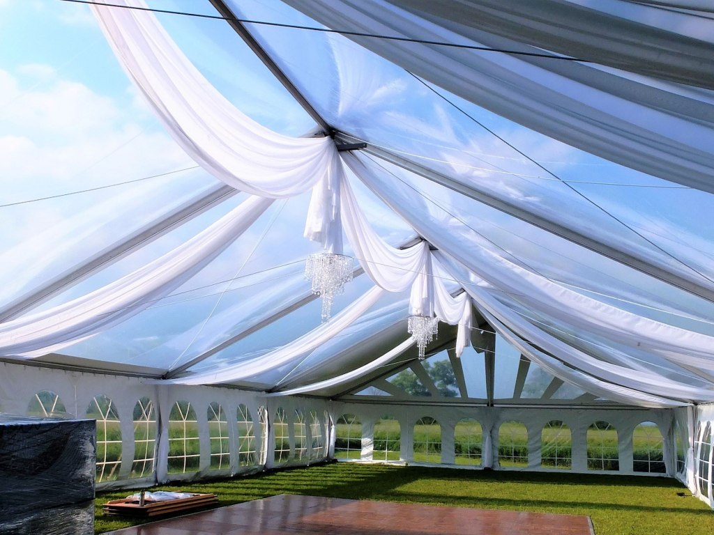 Clear Span Tent - Sheer Swags with Mini Lights & Anastasia Crystal Chandeliers