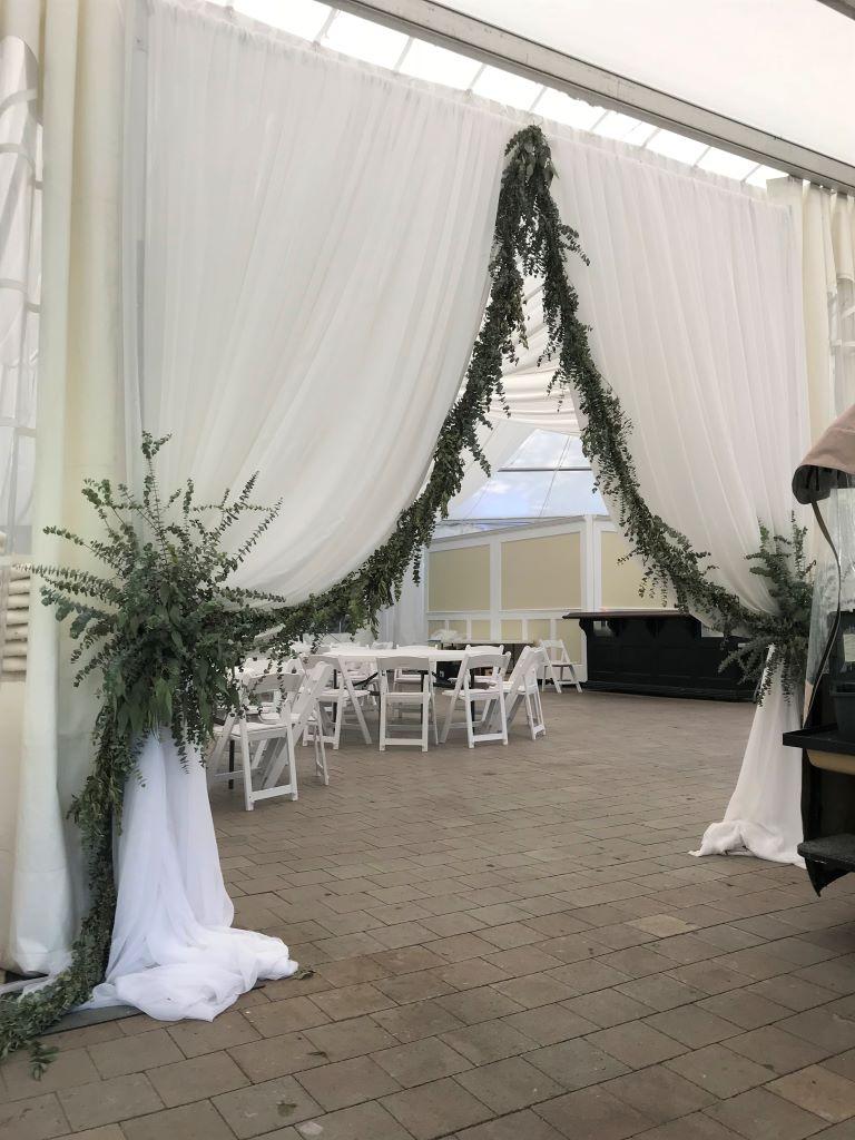 Sheer Window Drape Entranceway with Garland & Ties