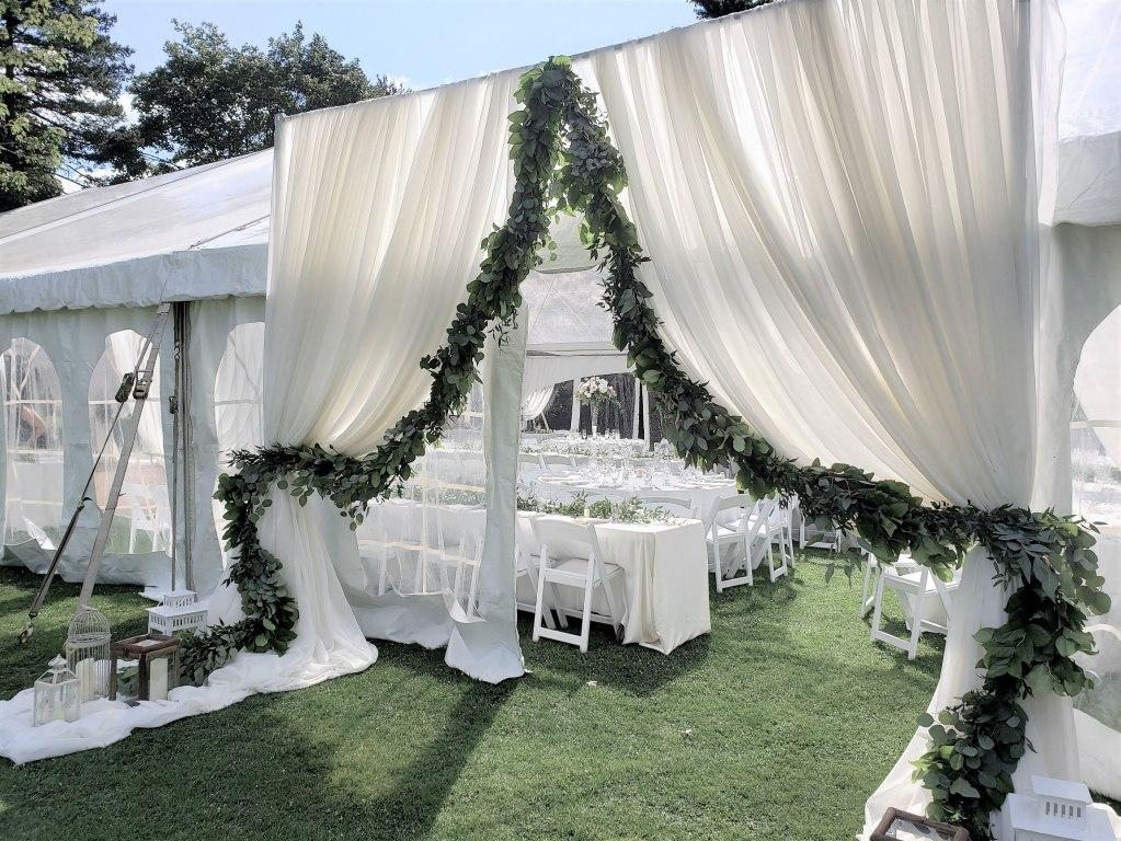 Tent Entranceway Decor with Fresh Garland