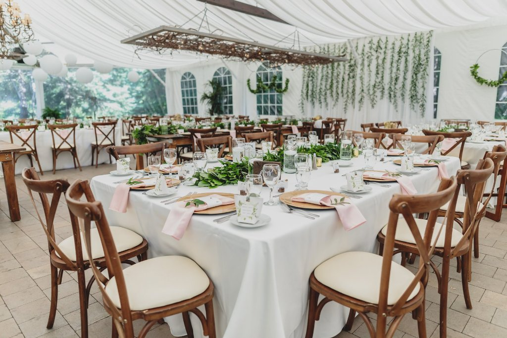 Harvest Chairs & Ruscus Garlands Tent Decor