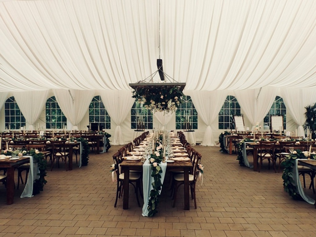 Tent Window Draping in White Sheer with Tie Backs