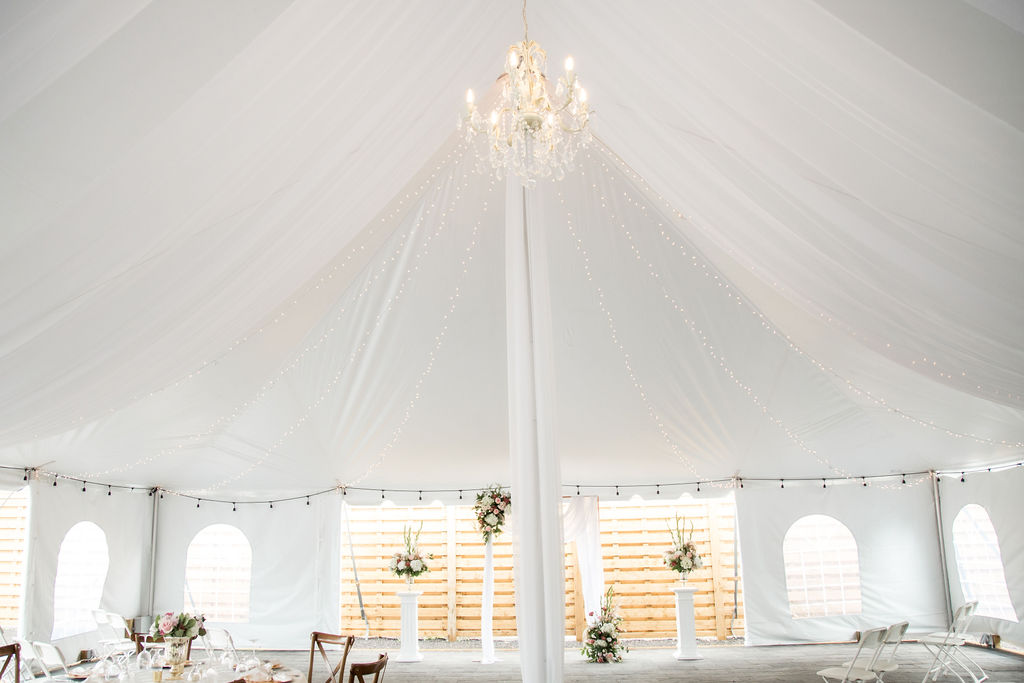 Tent Decor with Swags, Fairy Lights, Chandeliers