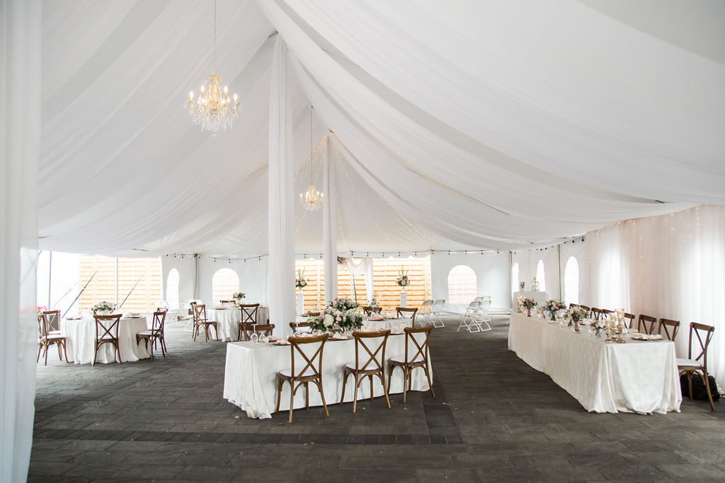 Tent Swags with Starry Night and Heritage Chandeliers