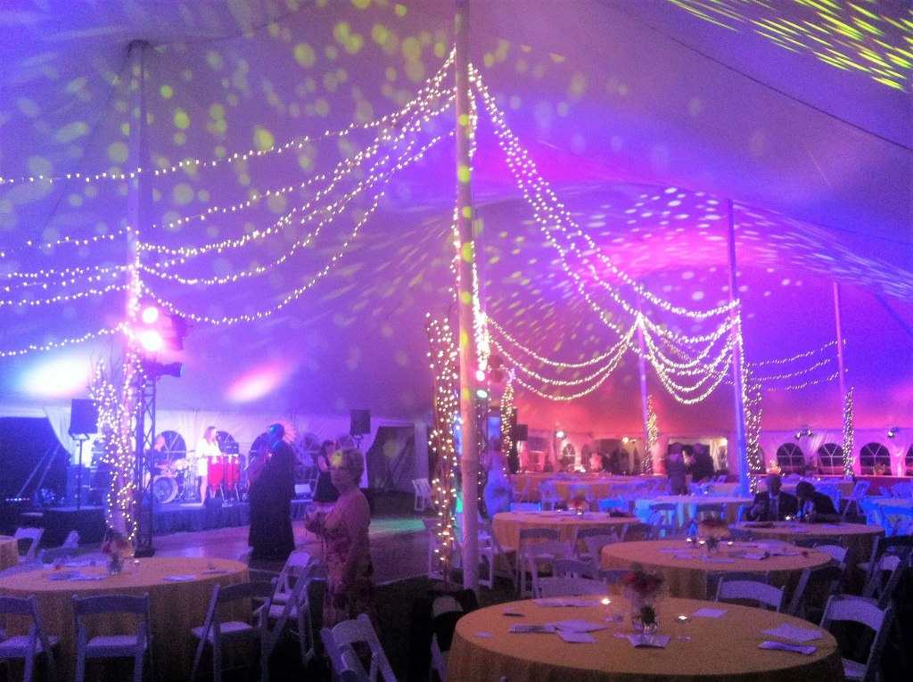 60' wide Pole Tent - Starry Night Ceiling Tent Decor