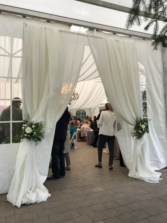 Tent Entranceway Decor with Fresh Bouquet Ties