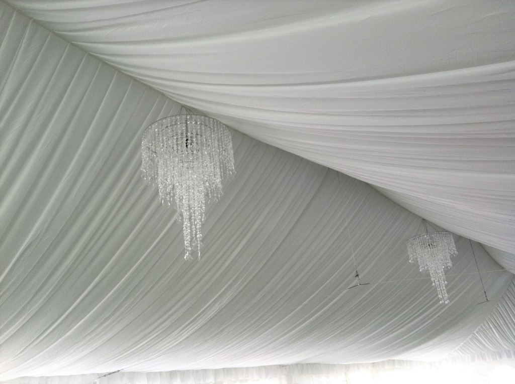Tent Liner 30' wide frame tent & 4' Anastasia Crystal Chandeliers