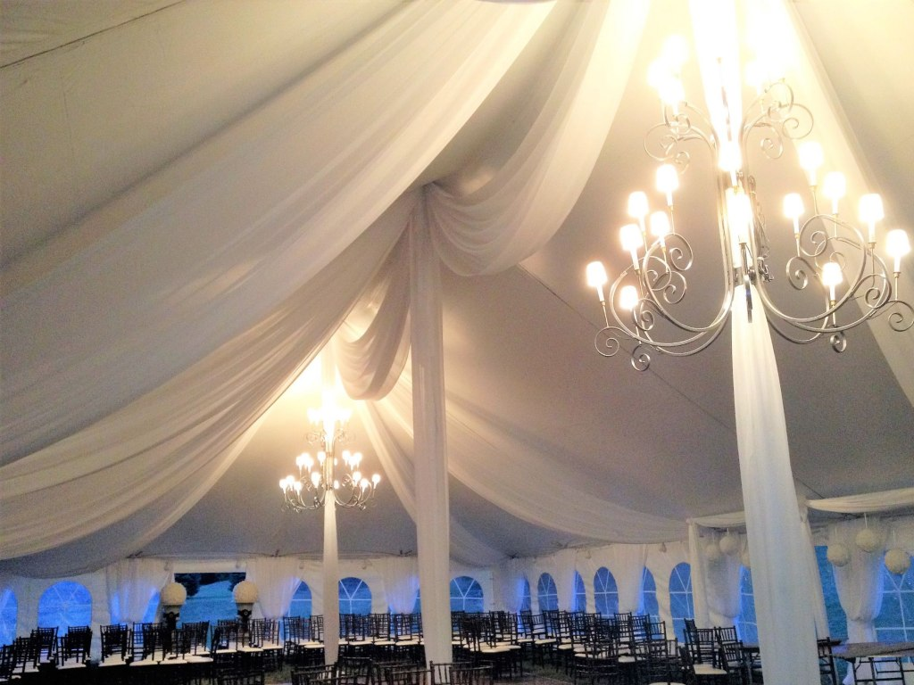 Sheer Tent Swags with Mini Lights & 6' Wrought Iron Chandeliers