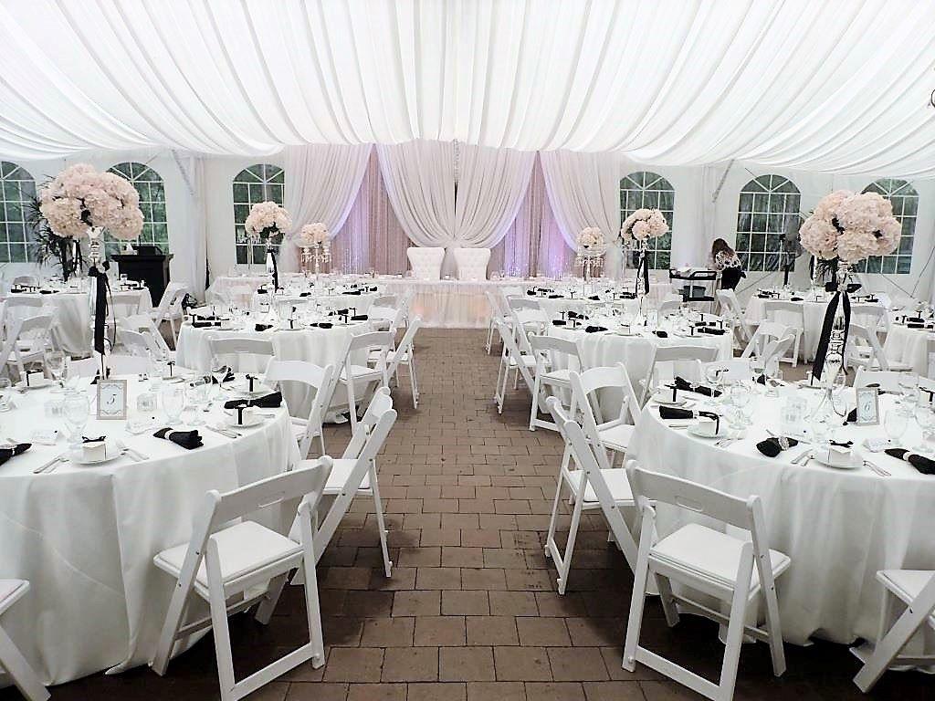 Blush, White & Black Accents Tent Decor
