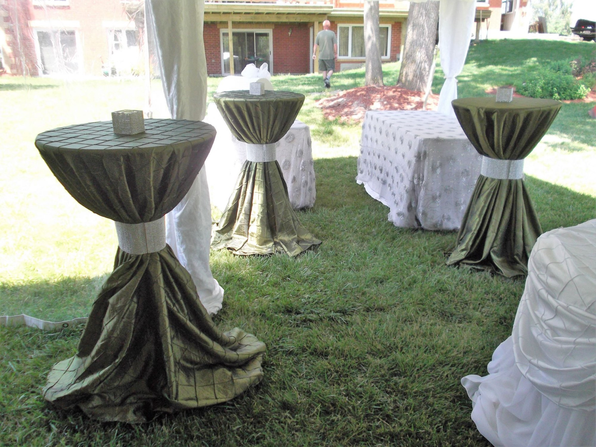 Cruiser Tables with Willow Green Linens & Silver Rhinestone Band Ties