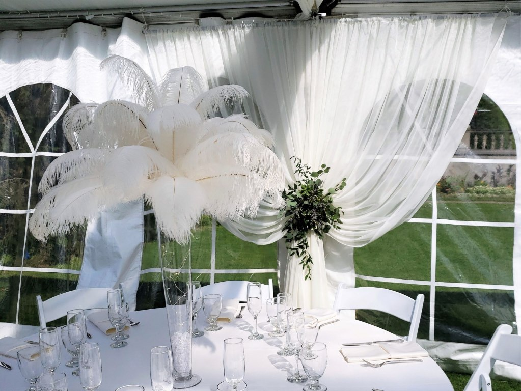 Perimeter Tent Pole Drapes Ivory Sheer with Fresh Greenery Ties