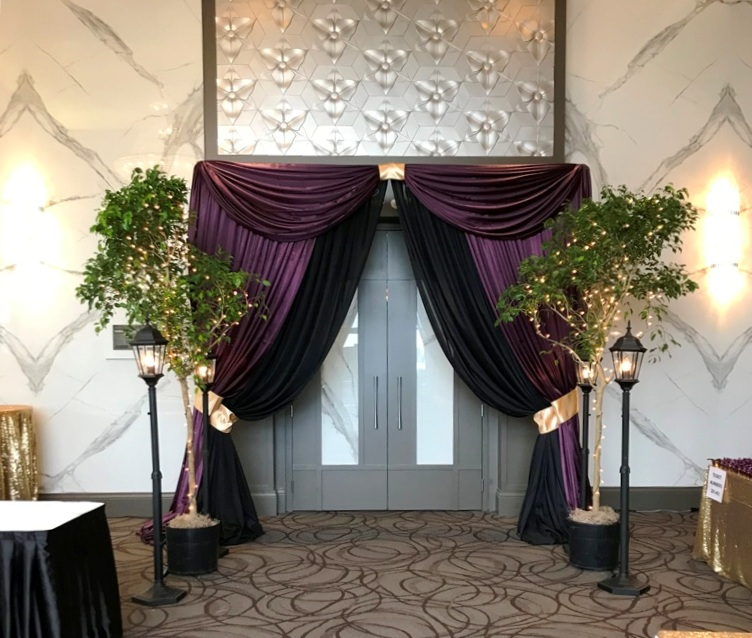 Venue Entranceway in Purple & Black