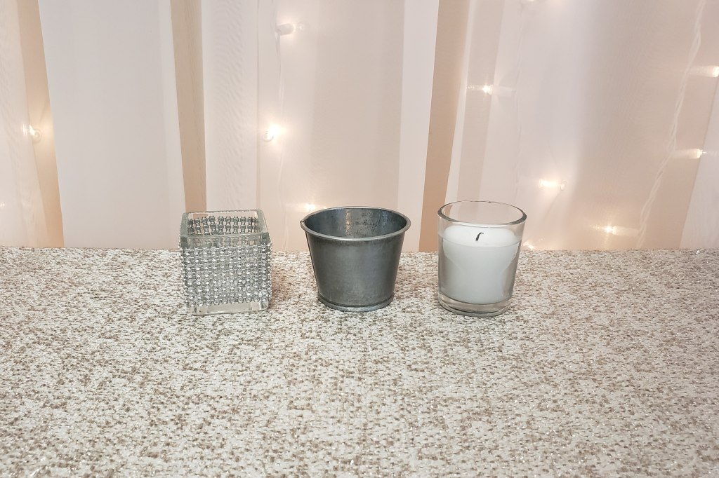 Silver Rhinestone, Tin and Glass Votives